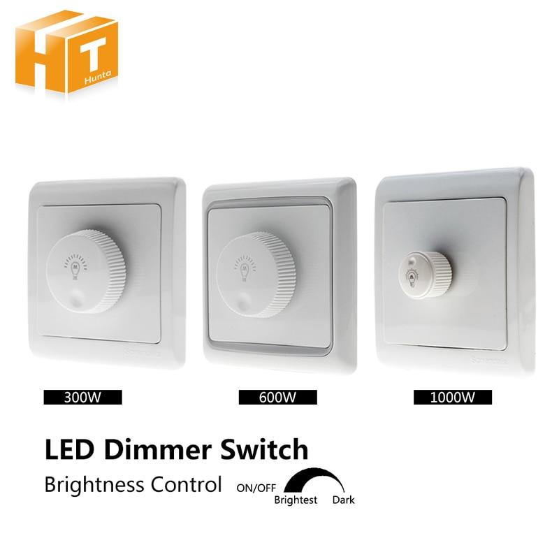 Dimmers do brilho do interruptor 220 v 300 w/600 w/1000 w para lâmpadas ajustáveis das luzes do diodo emissor de luz