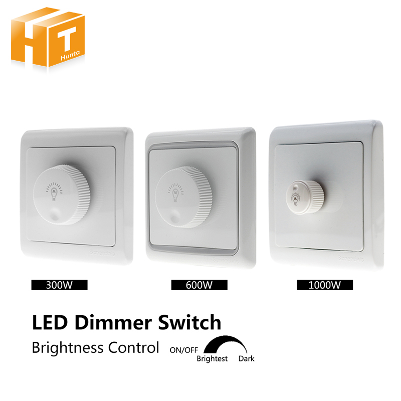 LED Dimmer Switch 220V 300W /600W /1000W Brightness Dimmers For Adjustable LED Lights Bulbs