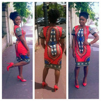 Tight Ethnic Style Classic Print High Stretch Slim African Women Dress Short Women Clothing Dashiki Dress