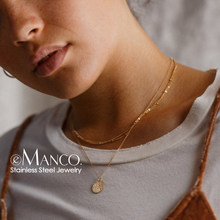 e-Manco Thin Chain Choker Necklace for women Mulri Layered Pendant Necklace women Stainless Steel Necklace Fashion Jewelry(China)