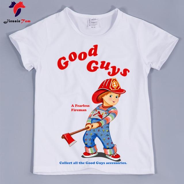2286c12d Children Fashion Good Guys Chucky Design Funny T-Shirt Boys Girls Baby  Casual Clothes Kids Summer Short Sleeve Tops Tees