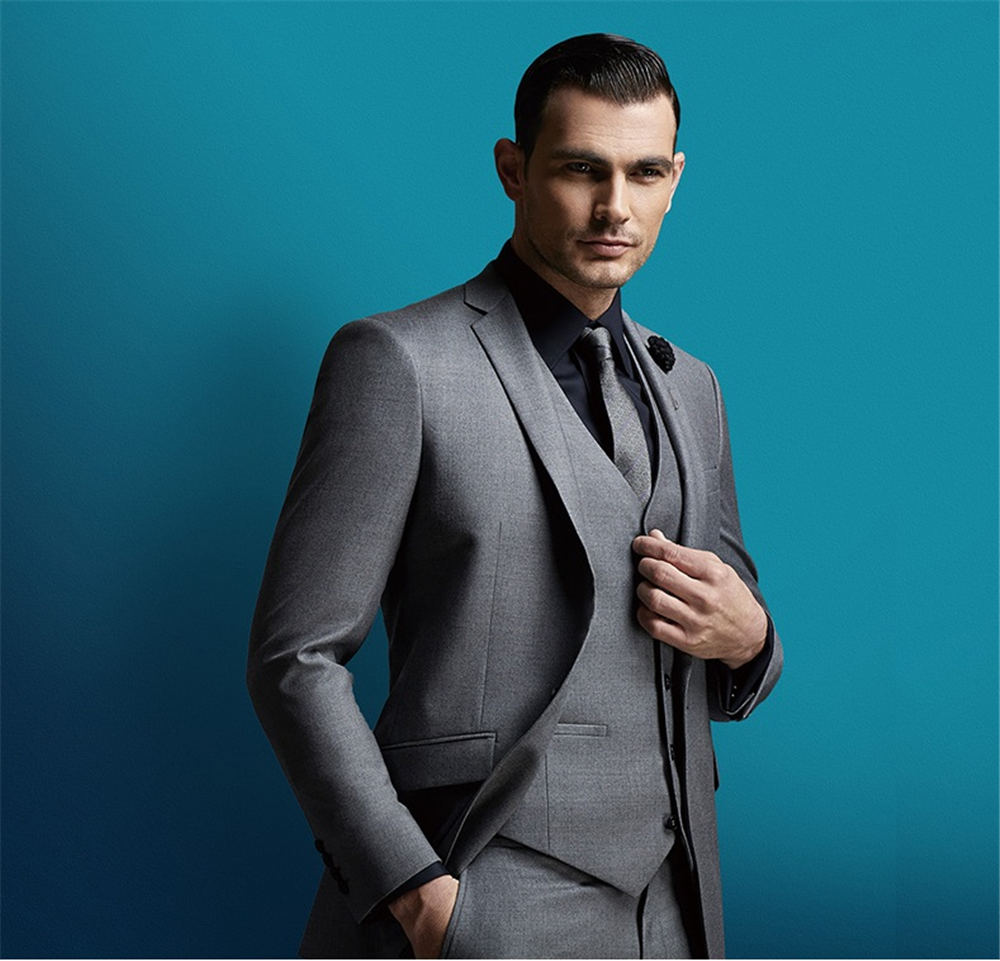 Online Shop Gray Three Pieces Groom Suit Custom Made Tuxedos For Men ...