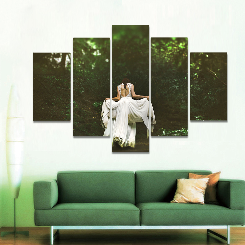 Unframed Canvas Painting Forest Woman In White Dress Silhouette Picture Prints Wall Picture For Living Room Wall Art Decoration
