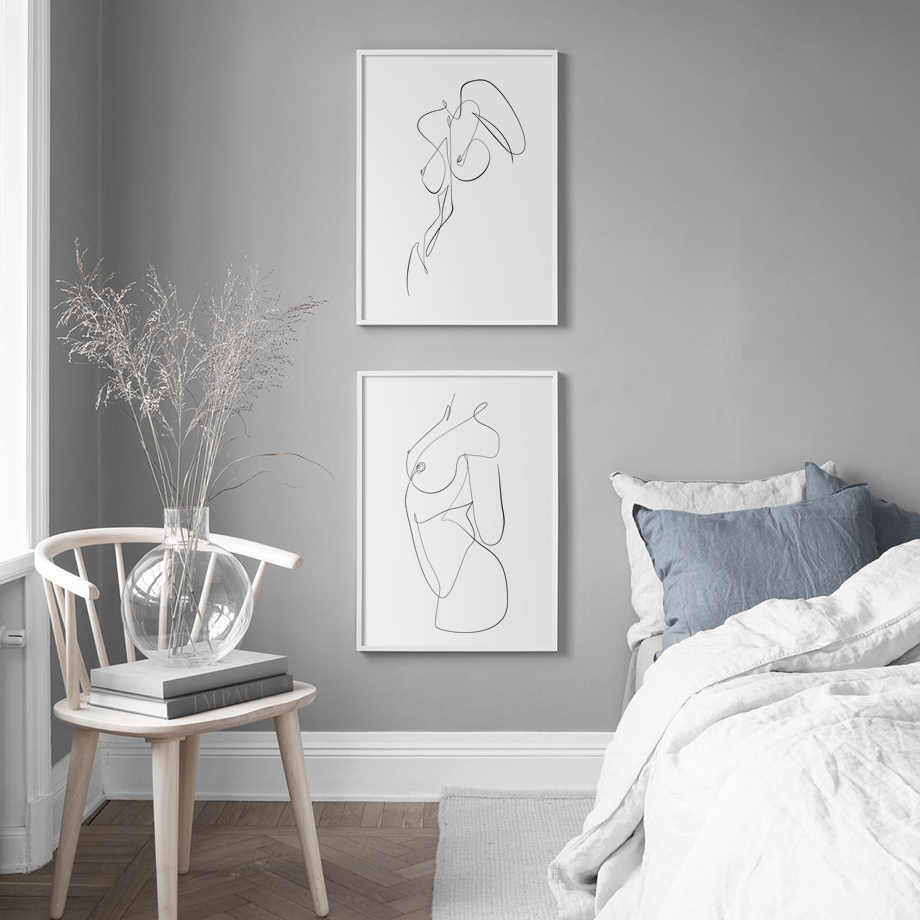 Abstract nude kiss Line Body Art Prints Nordic Posters And Prints Wall Art Canvas Painting Wall Pictures For Living Room Decor