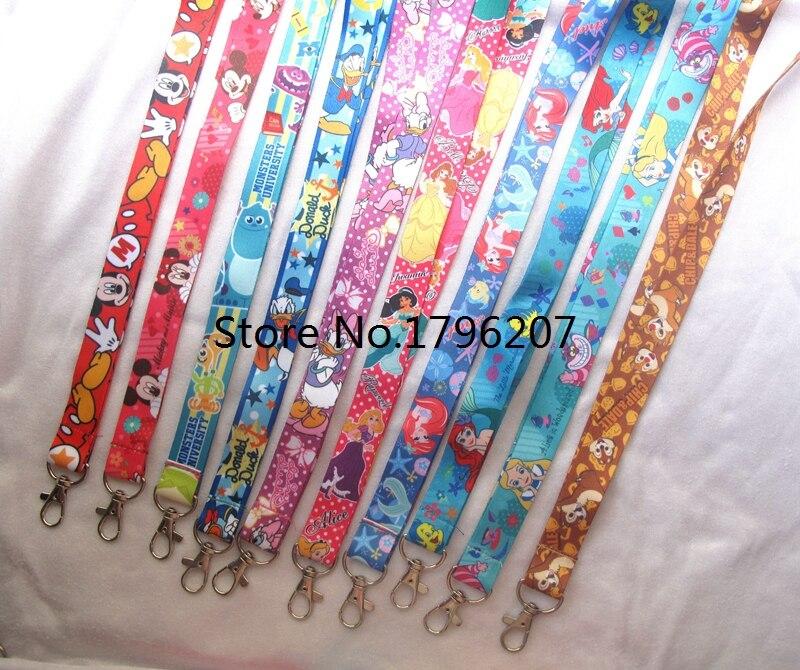 10 PCS  Cartoon Princess  Mickey Minnie  Mix  Neck Strap Lanyard Mobile Phone Charms Key Chain ID Badge Key Chains A-122