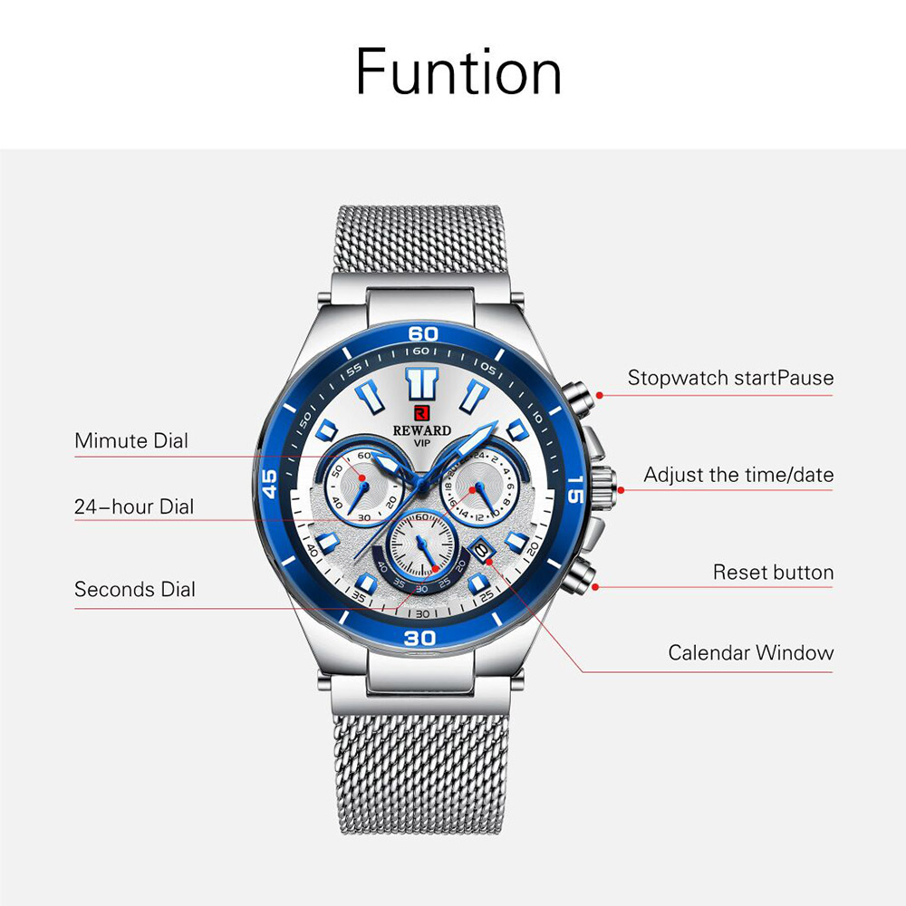 2019 Men Watch Luxury Brand Fashion Sports Quartz Watches Mens Steel Waterproof Chronograph Clock Business Relogio Masculino in Quartz Watches from Watches