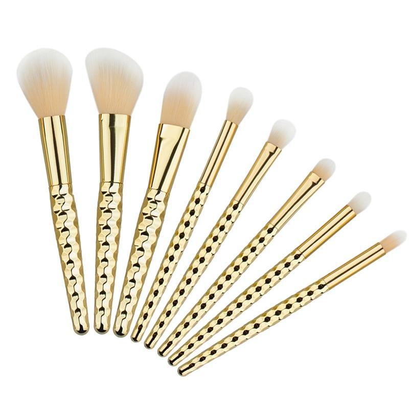 8Pcs/set Professional Makeup Brush Set With Honeycomb Shaped Handle Cosmetic Foundation Blusher Eyeshadow Blending Make Up Tool professional bullet style cosmetic make up foundation soft brush golden white