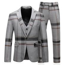 Patter Check Suit 2018 New Arrival Men Tuxedo Suit  Smoking Homme Mariage Trajes De Hombre Men Suit Business Smoking Uomo 5xl