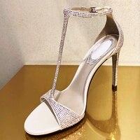 Стильный Кристалл Т бар лаконичные сандалии открытый носок с вырезами расшитая блестками Ткань горный хрусталь каблук Элегантный серебрян
