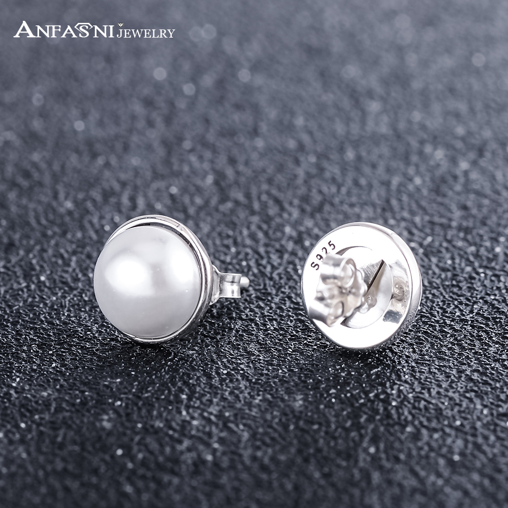 ANFASNI Beautiful 925 Sterling Silver Fashiom Classic and Graceful Elegant Beauty With White Pearl Stud Earring For Women Party