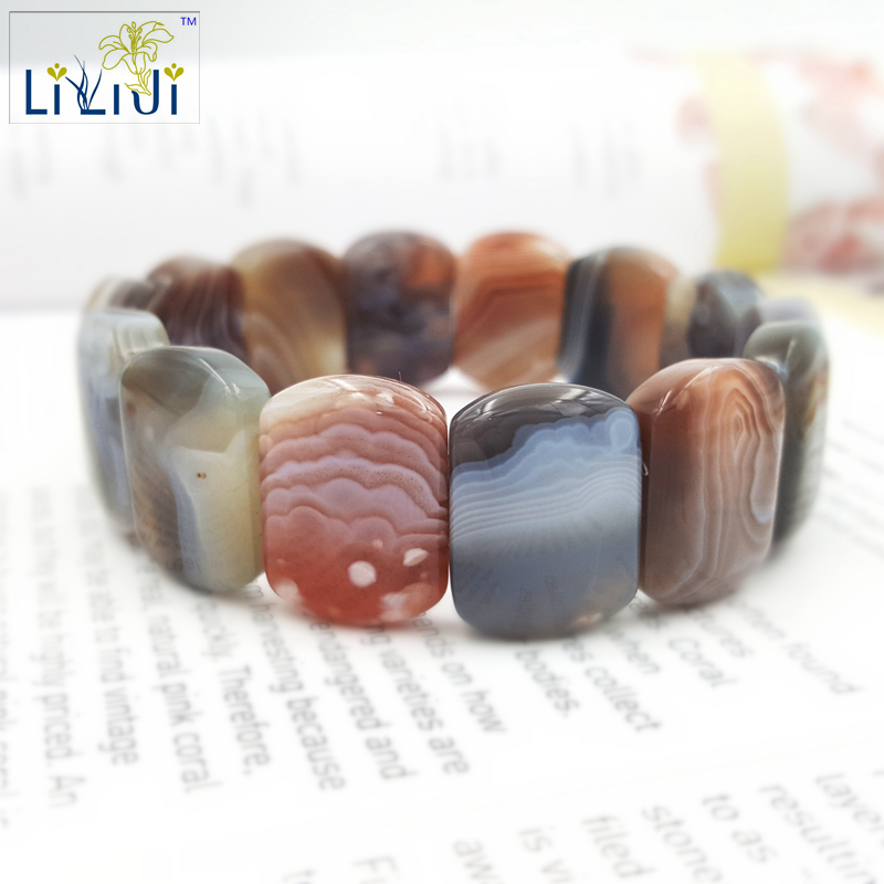 Natural Stone Botswanna Banded Agate Bracelet stone about 15x20mm Bracelet size about 7.5'' Fashion Jewelry