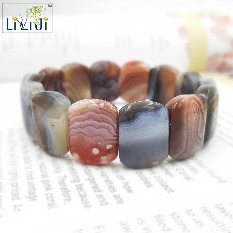 Natural Stone Botswanna Banded Agate Bracelet stone about 15x20mm Bracelet size about 7.5'' Fashion Jewelry luminous pearl bracelet stone bracelet rare stone bracelet