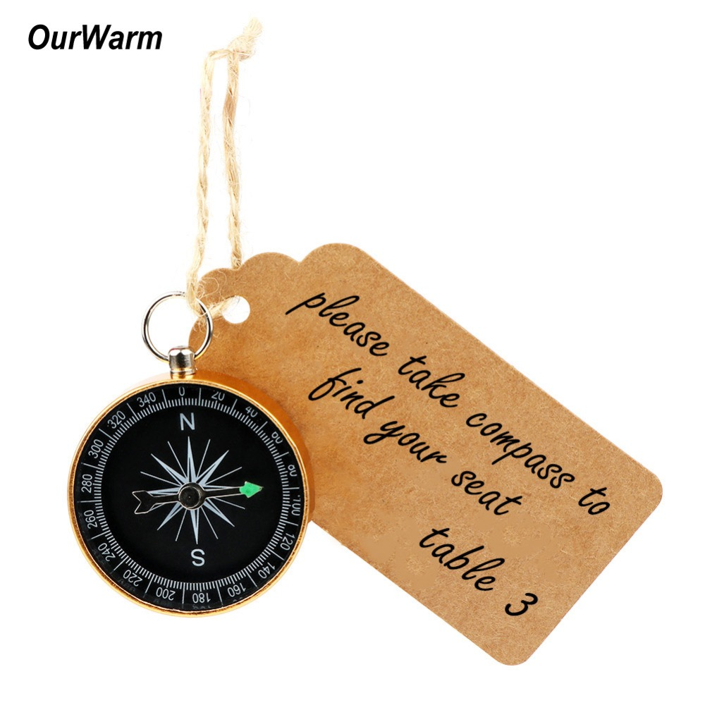OurWarm 100set Wedding Souvenirs for Guests Compass Kraft Paper Travel Themed Party Favors Birthday Baby Shower