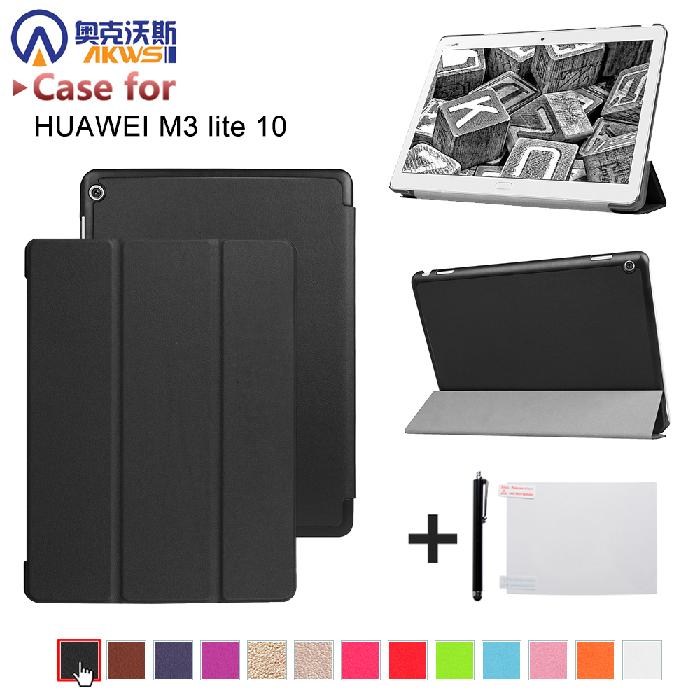 Case for 10.1'' Huawei MediaPad M3 Lite 10 protective cover skin case for BAH-W09 BAH-AL00 10 tablet+free gift smart ultra stand cover case for 2017 huawei mediapad m3 lite 10 tablet for bah w09 bah al00 10 tablet free gift