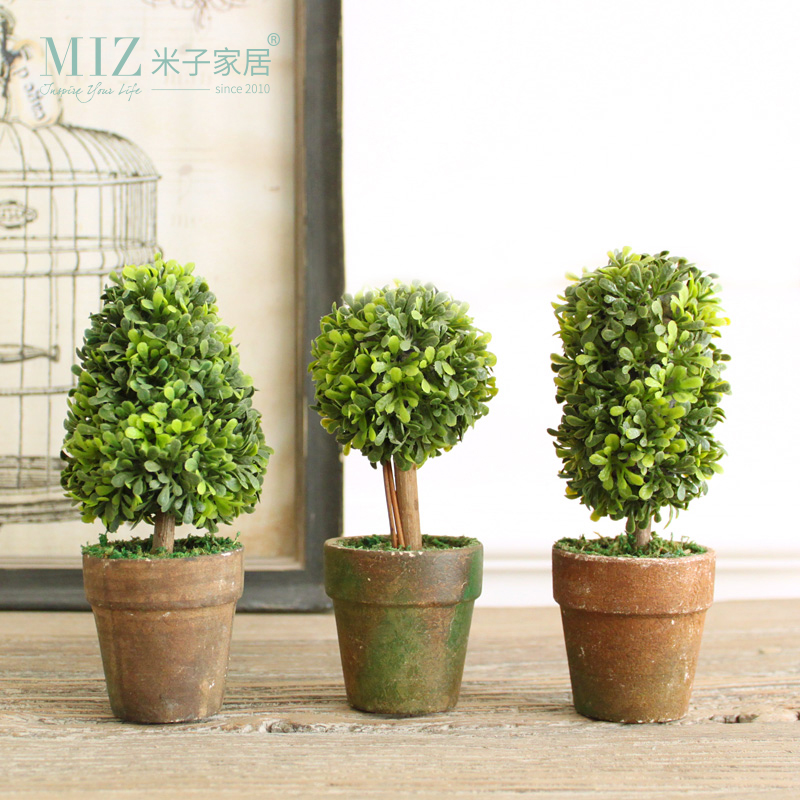 Miz Home 1 Set 3 Botton Mini Kunstplanten Decor Decoratieve Potplant - Tuinbenodigdheden