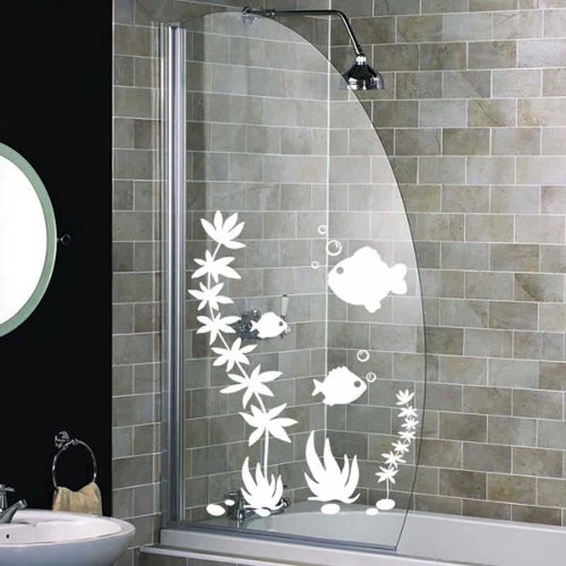 Fish Shower Screen Stickers Bathroom Wall Stickers Wall Art Decal Aliexpress
