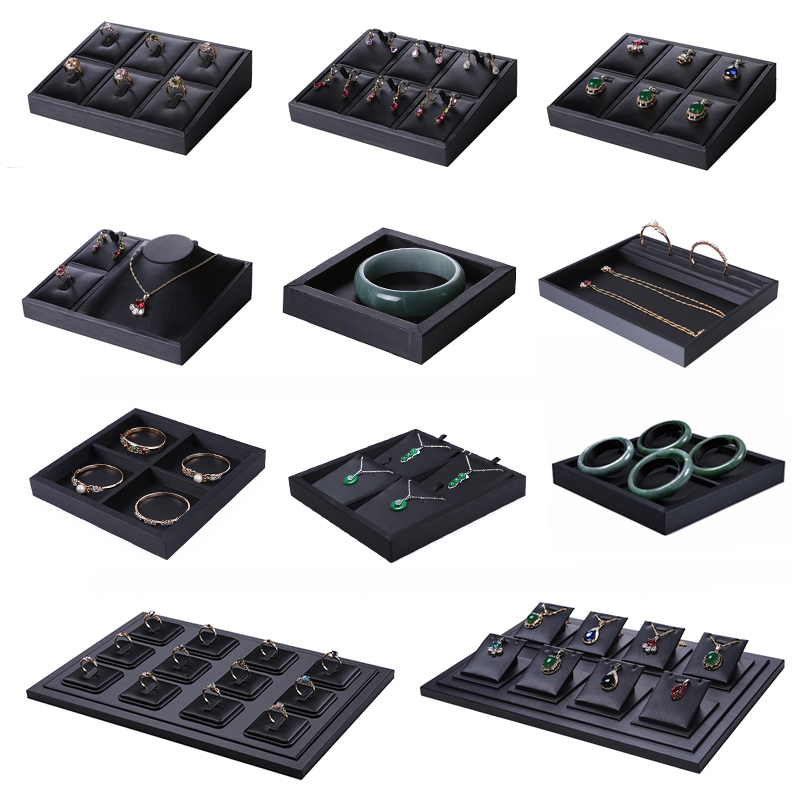 Superior Black PU Leather Ring Jewelry Display Tray Insert Charm Pendant Earring Accessories Bracelet Storage Stand Holder Shelf