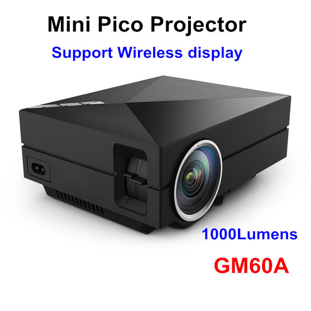 2016 el más nuevo GM60A 1000 lúmenes WiFi incorporado Diplay Metal Mini LED proyector del teatro casero HD Video proyectores Beamer 1080 P