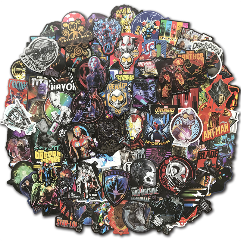 108Pcs/Lot Cool Super Hero Marvel Stickers The Avengers Sticker Pack For Kids Toy Gift Skateboard Luggage Laptop Car Decals Bomb
