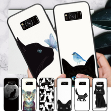 Particular Amiable Black cat Pattern For Samsung Galaxy S6 S7 Edge S8 S9 Plus Note 3 4 5 8 9 Hard Phone Case