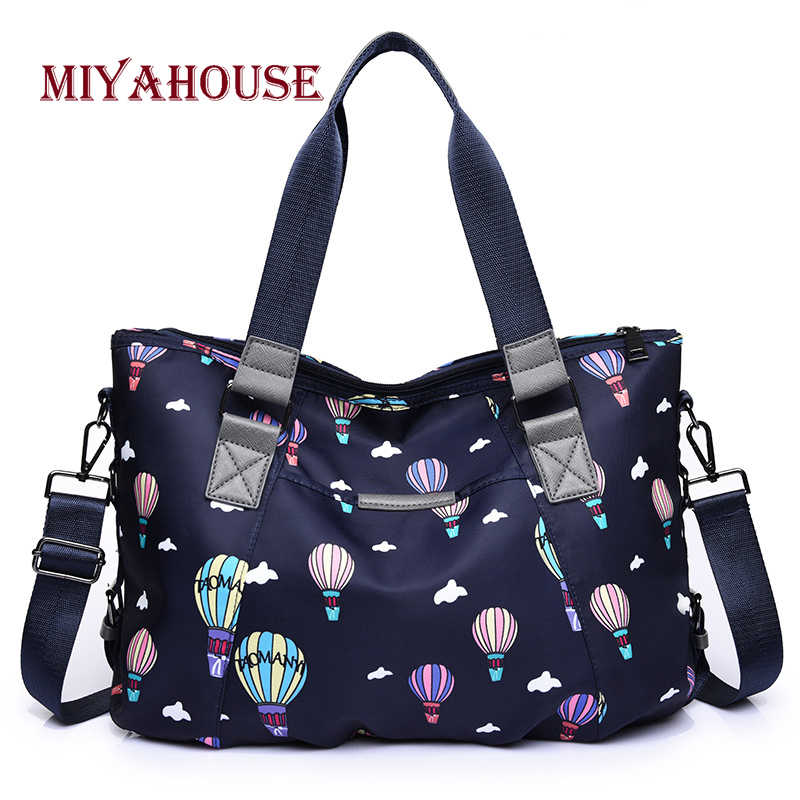 Miyahouse Cute Cartoon Hot Air Balloon print Handbag For Female Oxford Zipper Handbag Large Capacity Shoulder Bag