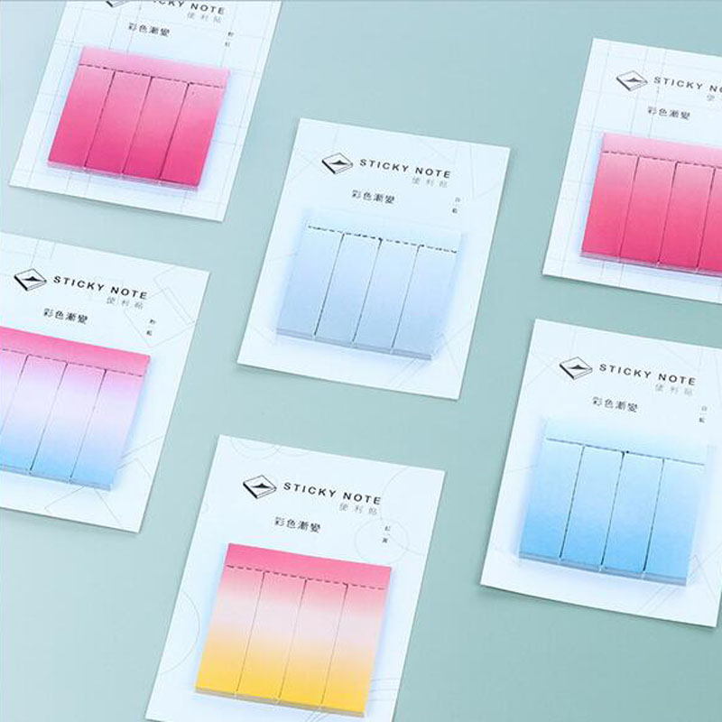 New Rainbow Gradient Color Decoration Memo Pads Sticky Notes Post It Bookmark School Office Supplplies