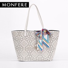MONFER large fashion TOTE bucket TOP-HANDLE Bags for women 2017 hollow out floral print casual shopping beach bag scarf handbag