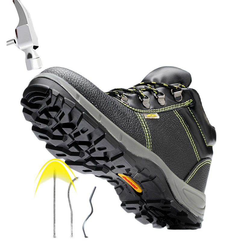 Steel Toe Safety Shoes Work Boots Puncture proof Solid Bottom Labor Construction Working Shoes Nonslip Outdoor