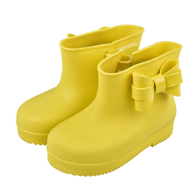 Детские Водонепроницаемые резиновые сапоги Нескользящие ПВХ слипоны с милым бантом ботильоны Hook & Loop Обувь для девочек Обувь для мальчиков устойчивые туфли новый сезон: весна–лето