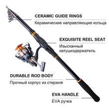 Goture Carbon Fiber Telescopic Fishing Rod 2.4M 2.7M 3.0M 3.6MSpinning Rod Saltwater Fishing Lure Rod
