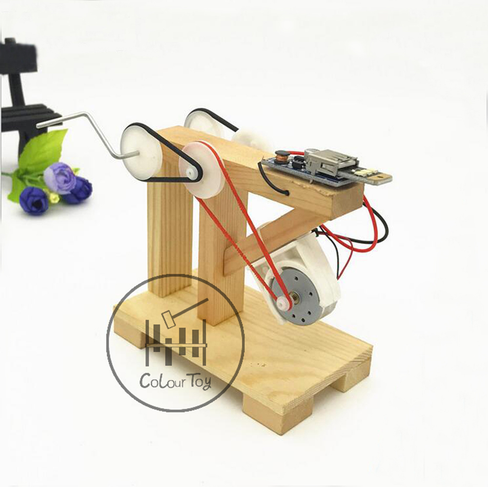 Toepak DIY Dynamo Lantern Educational STEM Building Toy Hand Cranked Power Generators Science Kit For Children Kids Gifts
