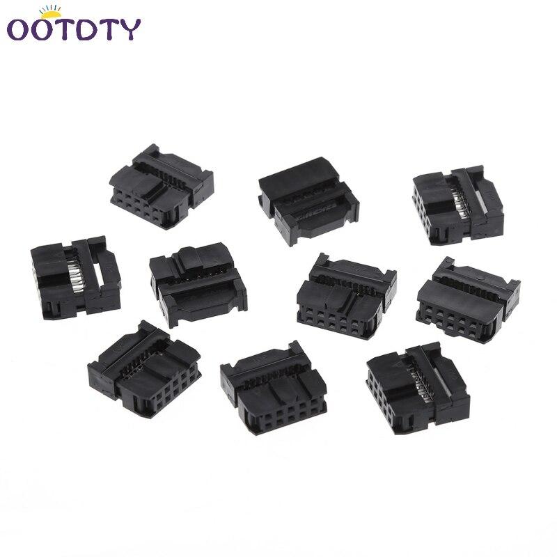 10Pcs/Set FC-10P 2x5Pin Dual Row Pitch 2.54mm IDC Socket Connector Female Header