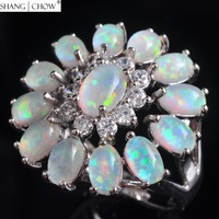 925 Sterling Silver Ring, 2018 Fashion Jewelry Huge Flower With Ovel Fire opal women Casual Clothes Accessories Lover Gift R1652