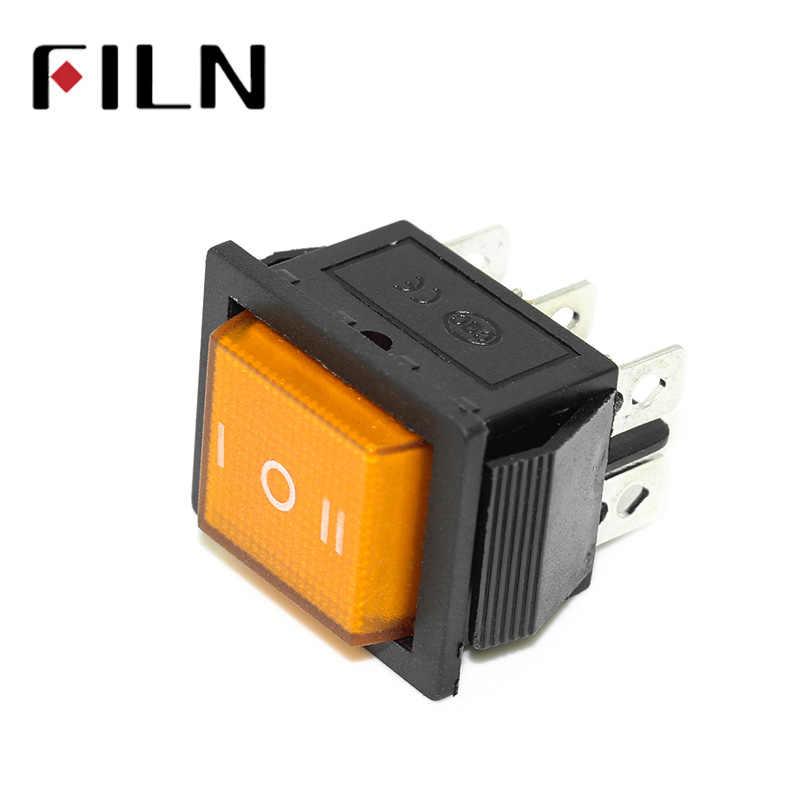 Kcd4 15A 250v AC przełącznik kołyskowy sliver punkt kontaktowy sworzeń miedziany czerwony led lampa on off on przełącznik z 6 pinami