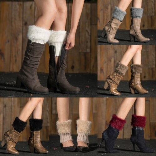 Mode Frauen Gilrs Baumwolle Fell Häkeln Gestrickte Stiefel ...