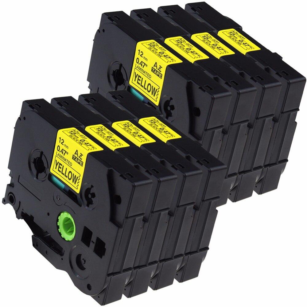 8 pcs/Lot Tze631 Tze-631 12mm Tze Tape Compatible Brother Ptouch Cartridge Label Maker Tape Tz631 Tz-631 Tz 631 Black on Yellow