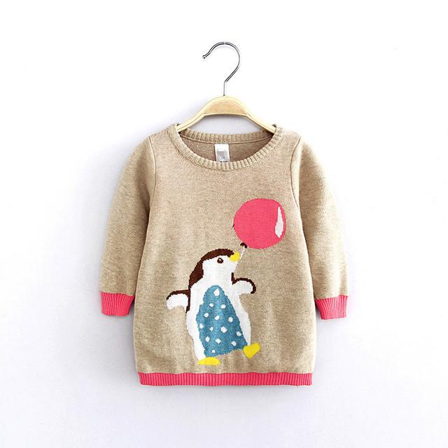 2016 otoño invierno de Los Niños bebé niñas privadas pingüino hecho de puro algodón suéter de punto cardigan Niños abrigo bebé suéter