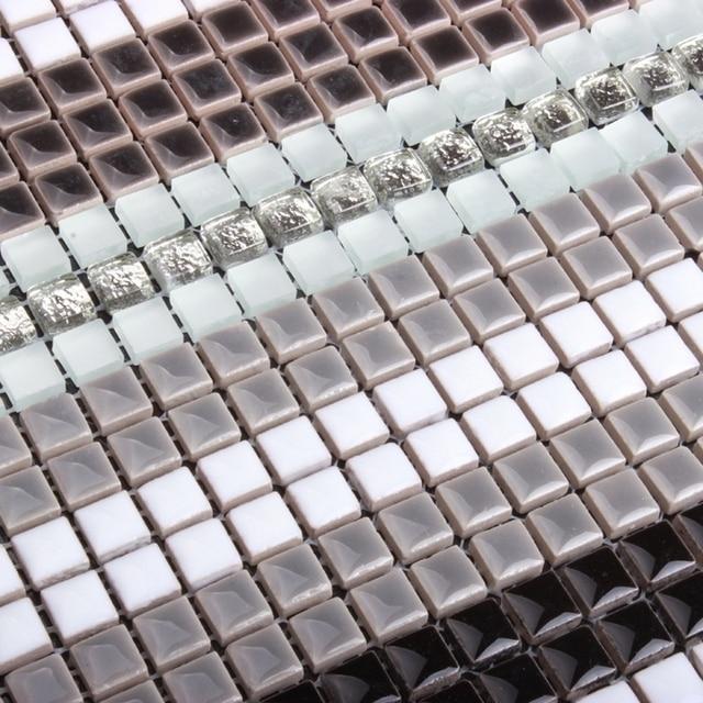 Schwarz Grau Weiß Keramikmischglasmosaik Kristall Mini Mosaik