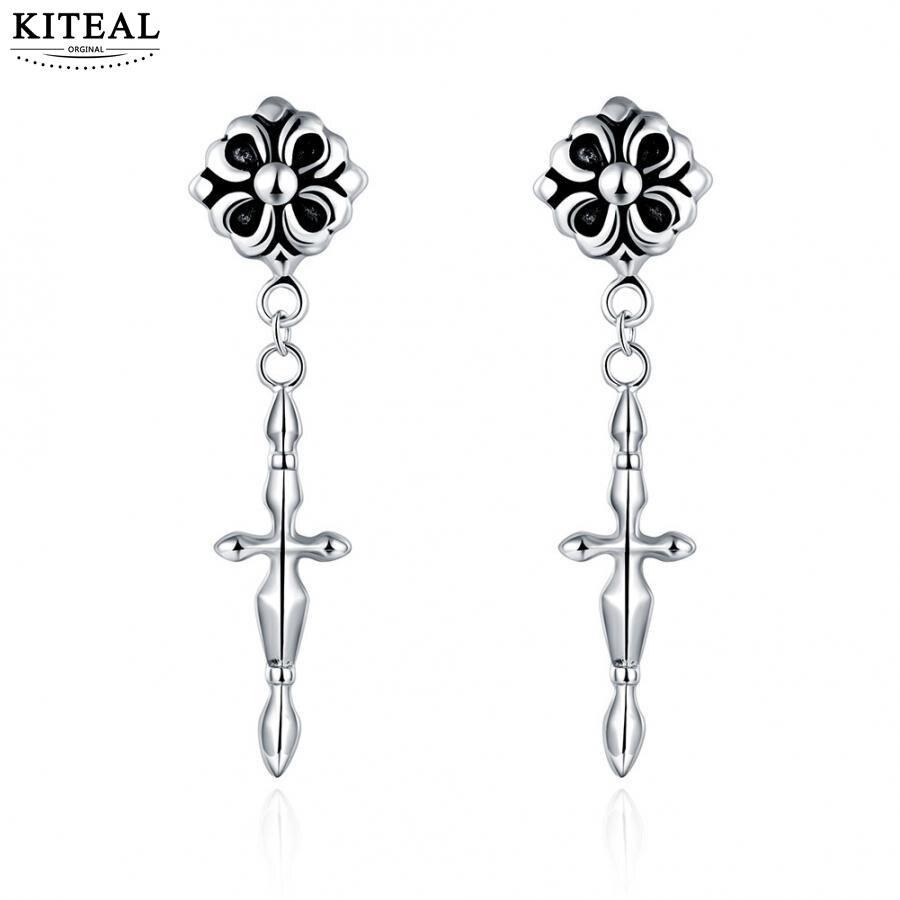 KITEAL online shopping india punk style stainless steel women earrings flower punk style cross ear cuff men jewelry
