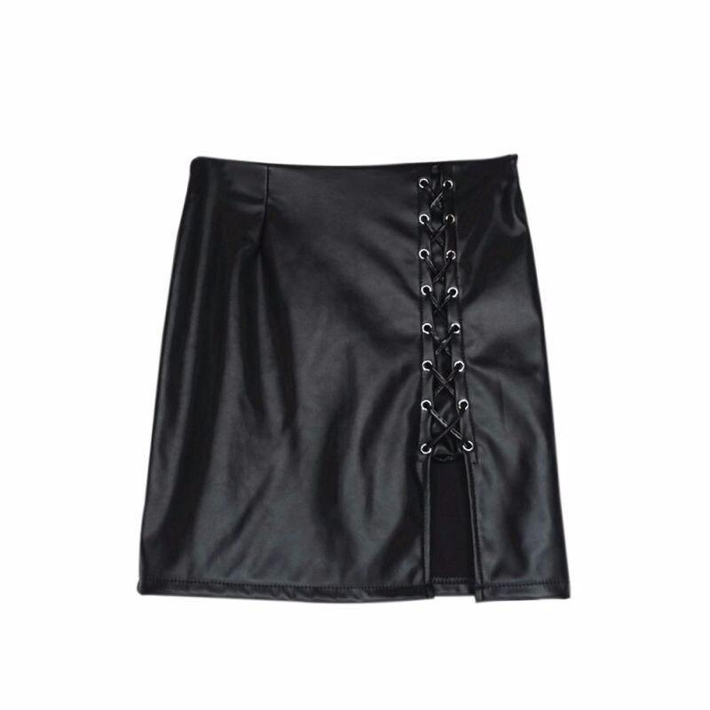 4239be9c7e04ff € 7.15 |2018 Nouvelles Femmes De Mode Faux Cuir Crayon Jupes Noir Lace Up  de Split Jupes Courtes Vintage Taille Haute Moulante Jupe dans Jupes de ...