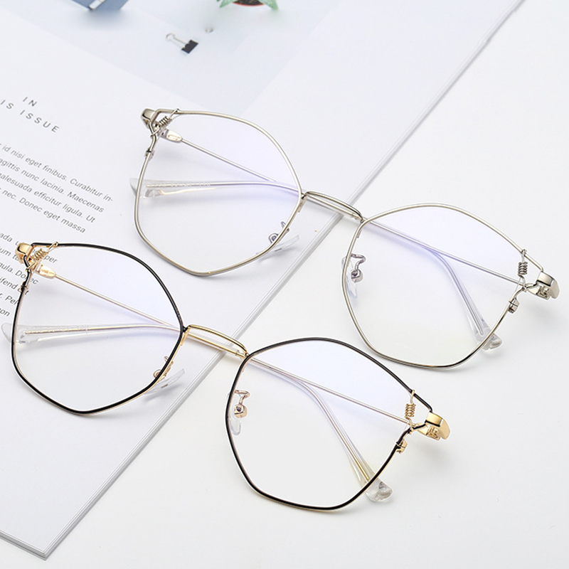 Myopia-Glasses Prescription Women Frame Optical-Lens Anti-Blue Retro Alloy with Ultralight