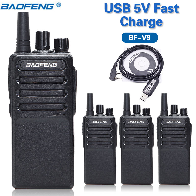 4PCS 2019 Baofeng BF V9 5V USB Fast Charge Walkie Talkie UHF 400 470MHz Radio Communicator