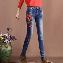 2017 весна осень новый женский вышивка цветы джинсы Середина талия Эластичность Тонкий карандаш брюки джинсовые брюки w57