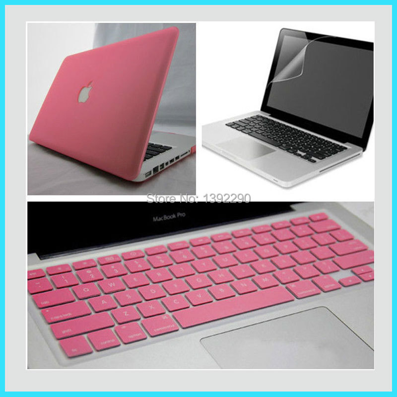 US $13 99 |3 in1 Pink Rubberized Hard Case Cover For Macbook Pro 13  inch+Screen protector+Keyboard cover-in Mobile Phone Accessory Bundles from