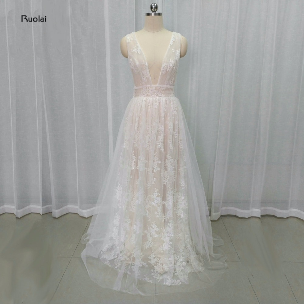 2017 Newest Real Sample Baby Pink Tulle Lace Appliques Deep V-Neck A-Line   Evening     Dresses   For Wedding Party Open Back Customize