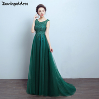 Darlingoddess Robe De Soiree 2017 Elegant Red Green Evening Dresses Long A Line Backless Lace Party