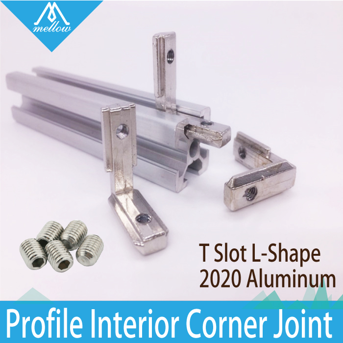 20pcs T Slot L-Shape 2020 Aluminum Profile Interior Corner Connector Joint Bracket for 2020 Alu-profile 3D printer (with screws) t slot l shape type aluminum profile accessories interior corner connector joint bracket for 20 30 40 45 profile