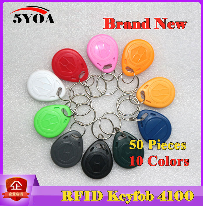 50Pcs RFID Tag Key Fob Keyfobs Keychain Ring Token 125Khz Proximity ID Card Chip EM 4100/4102 for Access Control Attendance free shipping 10pcs 125khz rfid proximity id token tag key keyfobs keychain chain plastic for access system green color