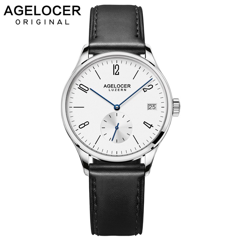Agelocer Luxury Brand Fashion Women Watches Genuine Leather Watch Automatic  Watch 1202A1