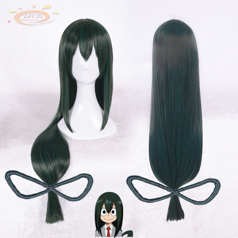 Cosplay My Hero Academia Baku no Hero Asui Tsuyu Long Straight Dark Green Cosplay Wigs 80cm